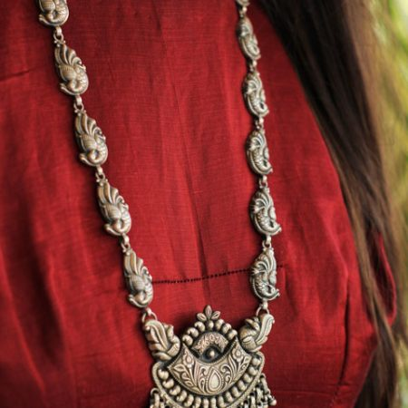 Anvaya Intricate Peacock Embossed Chandra Necklace primary